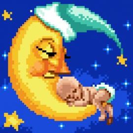 Haft krzyżykowy - do wyboru: kanwa z nadrukiem, nici Ariadna/DMC, wzór graficzny - Narodziny, dziecko na księżycu (No 5839)