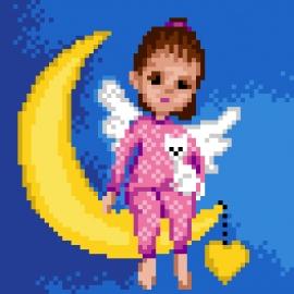 Hafty dla dzieci - Aniołek na księżycu (No 5840)