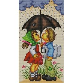 Haft krzyżykowy - do wyboru: kanwa z nadrukiem, nici Ariadna/DMC, wzór graficzny - Deszczowy dzień (No 7041)
