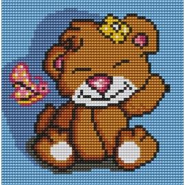 Haft krzyżykowy - do wyboru: kanwa z nadrukiem, nici Ariadna/DMC, wzór graficzny - Uśmiechnięty Miś Dziewczynka (No 5508)
