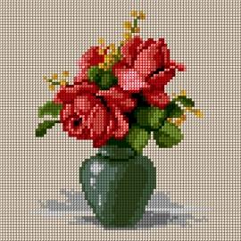 Haft krzyżykowy - do wyboru: kanwa z nadrukiem, nici Ariadna/DMC, wzór graficzny - Róże w wazonie (No 5724)