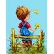 Haft krzyżykowy - do wyboru: kanwa z nadrukiem, nici Ariadna/DMC, wzór graficzny - Chłopiec z kwiatem (No 5735)