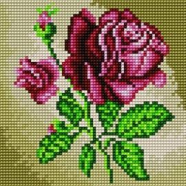 Haft krzyżykowy - do wyboru: kanwa z nadrukiem, nici Ariadna/DMC, wzór graficzny - Róża (No 5537)