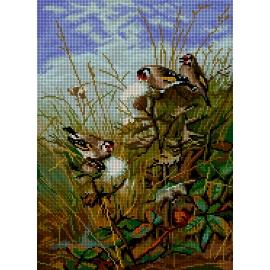 Haft krzyżykowy - do wyboru: kanwa z nadrukiem, nici Ariadna/DMC, wzór graficzny - Ptaki VI (No 7284)