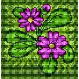 Haft krzyżykowy - do wyboru: kanwa z nadrukiem, nici Ariadna/DMC, wzór graficzny - Kwiatki (No 5515)