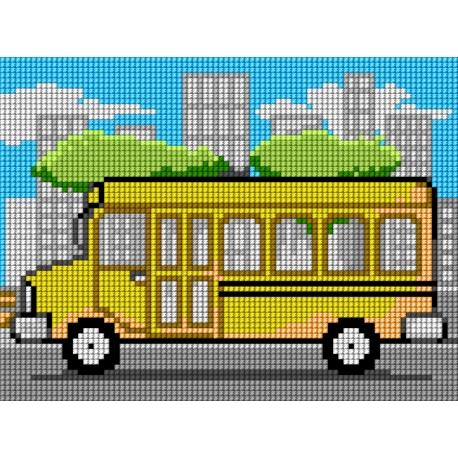 Haft krzyżykowy - do wyboru: kanwa z nadrukiem, nici Ariadna/DMC, wzór graficzny - Szkolny autobus (No 5717)