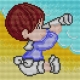Haft krzyżykowy - do wyboru: kanwa z nadrukiem, nici Ariadna/DMC, wzór graficzny -  Chłopiec z lunetą (No 5529)