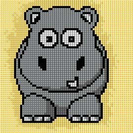Haft krzyżykowy - do wyboru: kanwa z nadrukiem, nici Ariadna/DMC, wzór graficzny - Hipopotam (No 5709)