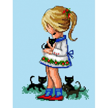 Dziewczynka z kotkami (No 5737)