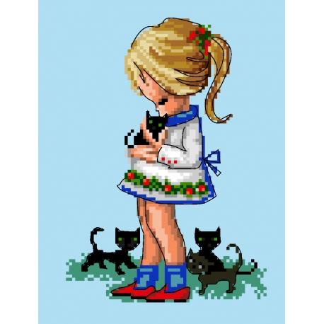 Haft krzyżykowy - do wyboru: kanwa z nadrukiem, nici Ariadna/DMC, wzór graficzny - Dziewczynka z kotkami (No 5737)