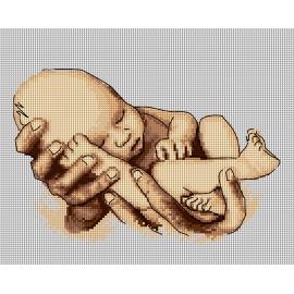 Haft krzyżykowy - do wyboru: kanwa z nadrukiem, nici Ariadna/DMC, wzór graficzny - Dziecko - narodziny (No 7288)