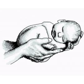 Haft krzyżykowy - do wyboru: kanwa z nadrukiem, nici Ariadna/DMC, wzór graficzny - Dziecko - narodziny (No 7287)