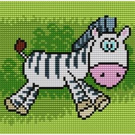 Haft krzyżykowy - do wyboru: kanwa z nadrukiem, nici Ariadna/DMC, wzór graficzny - Zebra (No 5514)