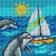 Haft krzyżykowy - do wyboru: kanwa z nadrukiem, nici Ariadna/DMC, wzór graficzny - Delfinki na morzu (No 5718)