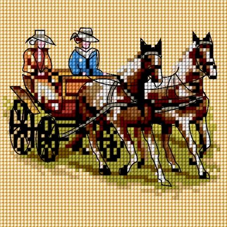 Haft krzyżykowy - do wyboru: kanwa z nadrukiem, nici Ariadna/DMC, wzór graficzny - Dorożka (No 5725)