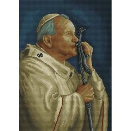 Haft krzyżykowy - do wyboru: kanwa z nadrukiem, nici Aridna/DMC, wzór graficzny Papież - Jan Pawel 2 (No 7042)