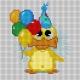 Haft krzyżykowy - do wyboru: kanwa z nadrukiem, nici Ariadna/DMC, wzór graficzny - Kaczuszka z balonami (No 5720)