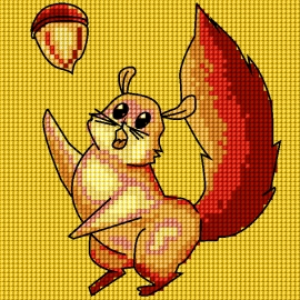 Haft krzyżykowy - do wyboru: kanwa z nadrukiem, nici Ariadna/DMC, wzór graficzny - Wiewiórka (No 5712)