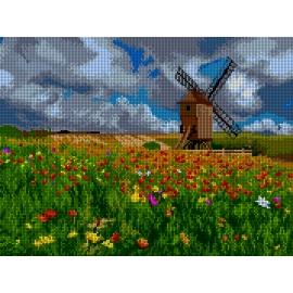 Haft krzyżykowy - do wyboru: kanwa z nadrukiem, nici Ariadna/DMC, wzór graficzny - Wiatrak - łąka z kwiatami (No 7302)