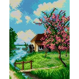 Haft krzyżykowy - do wyboru: kanwa z nadrukiem, nici Ariadna/DMC, wzór graficzny - Pejzaż wiosenny z rzeką (No 5863)