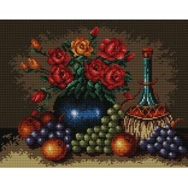 Haft krzyżykowy - do wyboru: kanwa z nadrukiem, nici Ariadna/DMC, wzór graficzny - Martwa natura - róże i winogrona (No 5301)