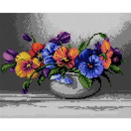 Haft krzyżykowy - do wyboru: kanwa z nadrukiem, nici Ariadna/DMC, wzór graficzny - Bratki w wazonie (No 7305)