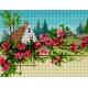 Haft krzyżykowy - do wyboru: kanwa z nadrukiem, nici Ariadna/DMC, wzór graficzny - Pejzaż z chatą i różami (No 5862)