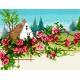 Pejzaż z chatą - róże (No 5862)