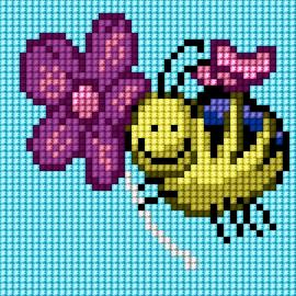 Haft krzyżykowy - do wyboru: kanwa z nadrukiem, nici Ariadna/DMC, wzór graficzny - Pszczółka (No 5829)