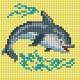 Haft krzyżykowy - do wyboru: kanwa z nadrukiem, nici Ariadna/DMC, wzór graficzny - Delfin (No 5831)