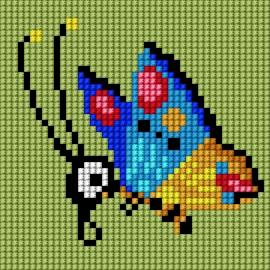 Haft krzyżykowy - do wyboru: kanwa z nadrukiem, nici Ariadna/DMC, wzór graficzny - Motylek (No 5837)