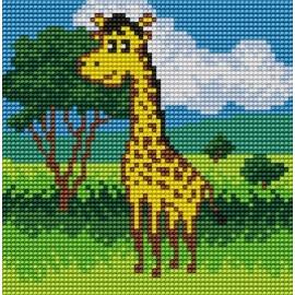 Haft krzyżykowy - do wyboru: kanwa z nadrukiem, nici Ariadna/DMC, wzór graficzny - Żyrafa  (No 5549)