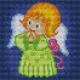 Haft krzyżykowy - do wyboru: kanwa z nadrukiem, nici Ariadna/DMC, wzór graficzny - Aniołek w zielonej sukience (No 5553)