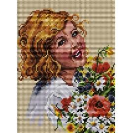 Haft krzyżykowy - do wyboru: kanwa z nadrukiem, nici Ariadna/DMC, wzór graficzny - Uśmiechnięta dziewczynka (No 5411)