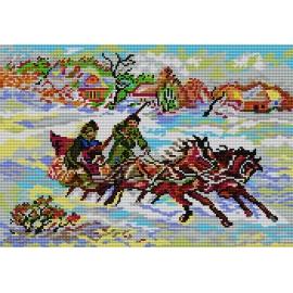 Haft krzyżykowy - do wyboru: kanwa z nadrukiem, nici Ariadna/DMC, wzór graficzny - Sanie zimą (No 324)