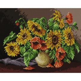 Obrazek do haftu krzyżykowego - kanwa z nadrukiem kolorowym Słoneczniki (No 7050)