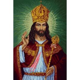 Haft krzyżykowy - do wyboru: kanwa z nadrukiem, nici Ariadna/DMC, wzór graficzny - Jezus Chrystus Król Polski (No 7309)