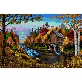 Haft krzyżykowy - do wyboru: kanwa z nadrukiem, nici Ariadna/DMC, wzór graficzny - Pejzaż jesienny z młynem (No 7308)