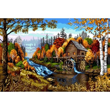 Pejzaż jesienny z młynem - duża kanwa do haftu krzyżykowego (No 7308)
