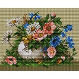 Haft krzyżykowy - do wyboru: kanwa z nadrukiem, nici Aridna/DMC, wzór graficzny - Polne kwiaty (No 5310)