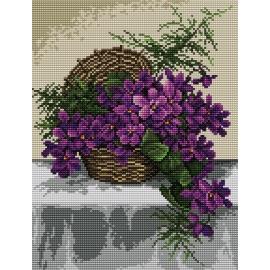 Haft krzyżykowy - do wyboru: kanwa z nadrukiem, nici Ariadna/DMC, wzór graficzny - Fiołki w koszyku (No 5311) VI