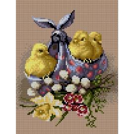 Wielkanoc - pisklęta w chuście, wzór haftu krzyżykowego (No 5867)