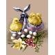 Haft krzyżykowy - do wyboru: kanwa z nadrukiem, nici Ariadna/DMC, wzór graficzny - Wielkanoc - pisklęta w chuście (No 5867)