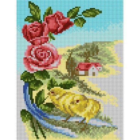 Haft krzyżykowy - do wyboru: kanwa z nadrukiem, nici Ariadna/DMC, wzór graficzny - Wielkanocne pisklęta  z różami (No 5866)