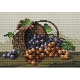 Haft krzyżykowy - do wyboru: kanwa z nadrukiem, nici Ariadna/DMC, wzór graficzny - Kosz winogron (No 5313)