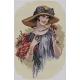 Haft krzyżykowy - do wyboru: kanwa z nadrukiem, nici Ariadna/DMC, wzór graficzny - Kobieta w kapeluszu (No 5312)