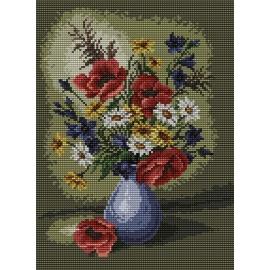 Haft krzyżykowy - do wyboru: kanwa z nadrukiem, nici Ariadna/DMC, wzór graficzny - Kwiaty w wazonie (No 5317)