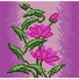 Haft krzyżykowy - do wyboru: kanwa z nadrukiem, nici Ariadna/DMC, wzór graficzny -  Kwiaty (No 5566)