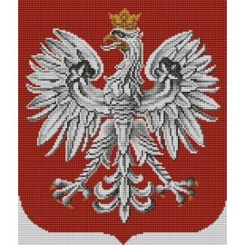 Haft krzyżykowy - do wyboru: kanwa z nadrukiem, nici Ariadna/DMC, wzór graficzny - Godło Polski (No 7055)
