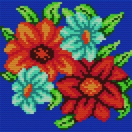 Haft krzyżykowy - do wyboru: kanwa z nadrukiem, nici Aridna/DMC, wzór graficznyKwiatki (No 5570)
